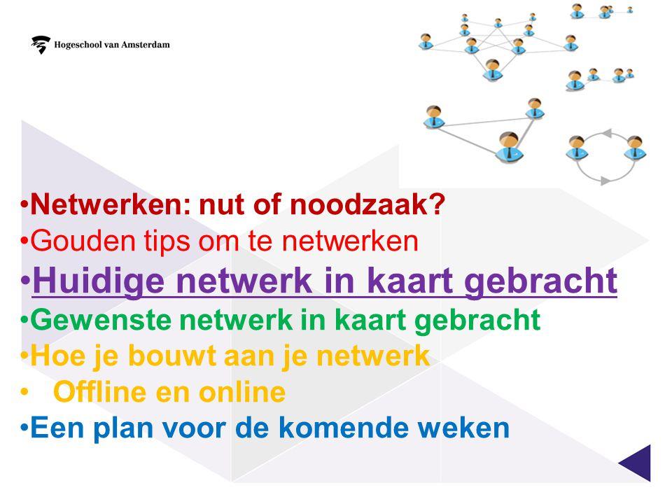 Huidige netwerk in kaart gebracht