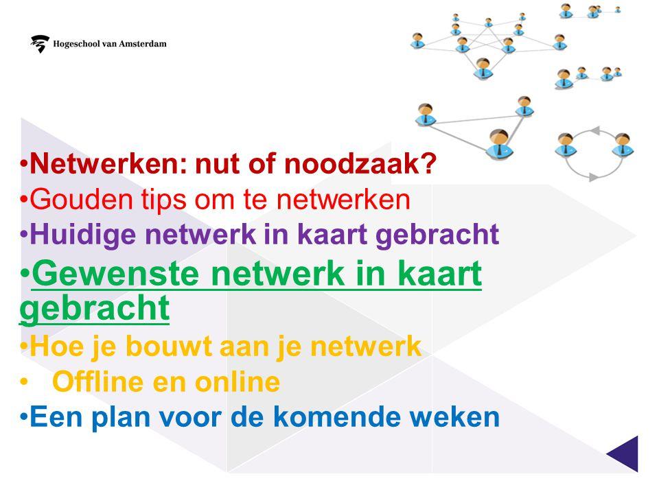 Gewenste netwerk in kaart gebracht