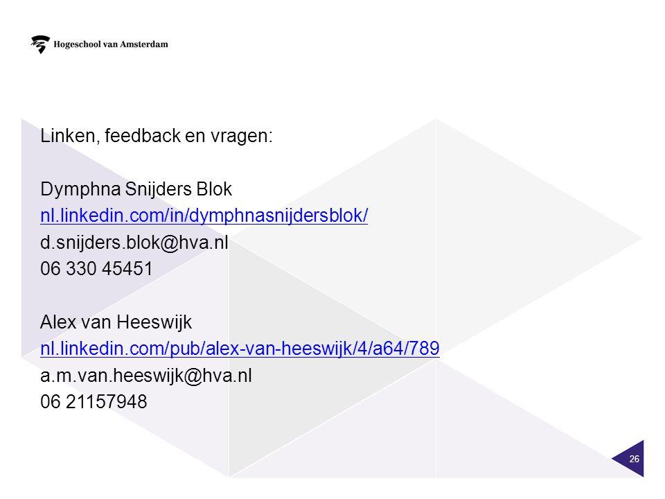 Linken, feedback en vragen: Dymphna Snijders Blok nl. linkedin