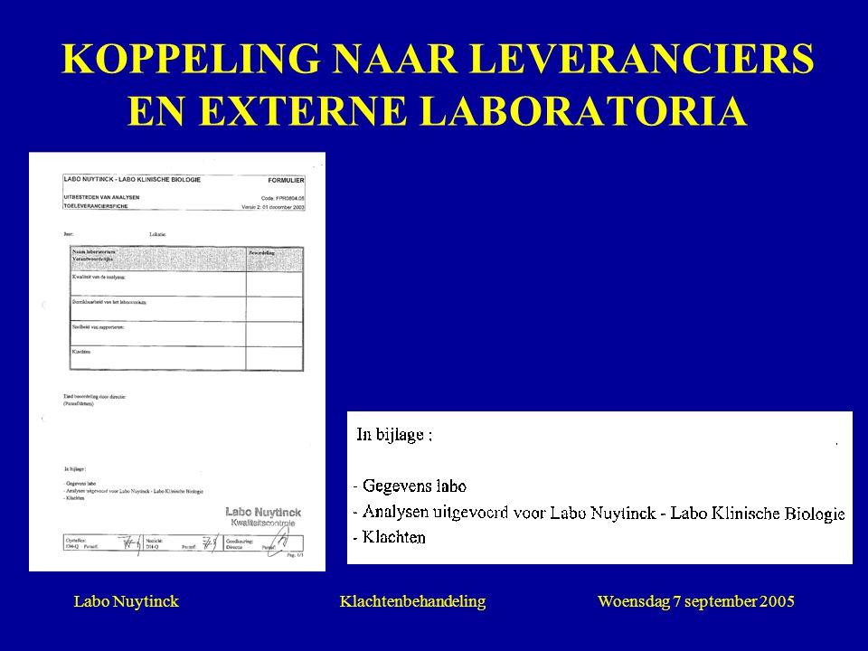 KOPPELING NAAR LEVERANCIERS EN EXTERNE LABORATORIA