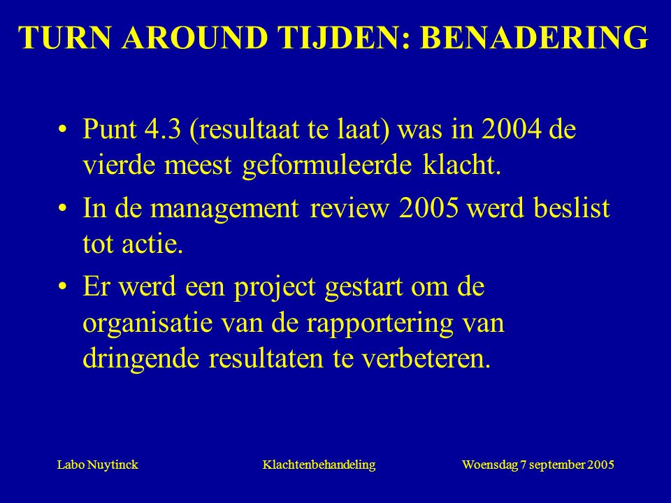 TURN AROUND TIJDEN: BENADERING