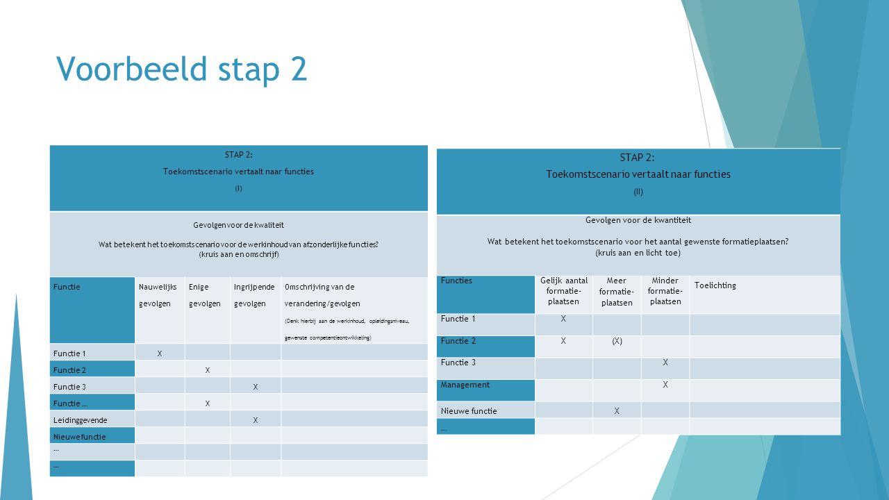 Voorbeeld stap 2 STAP 2: Toekomstscenario vertaalt naar functies