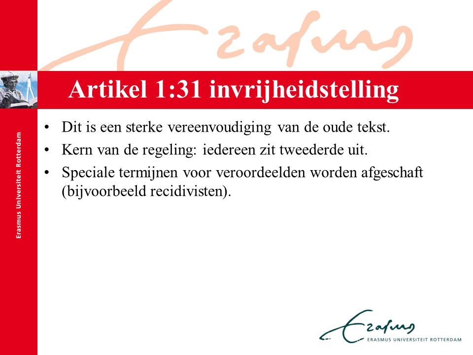 Artikel 1:31 invrijheidstelling