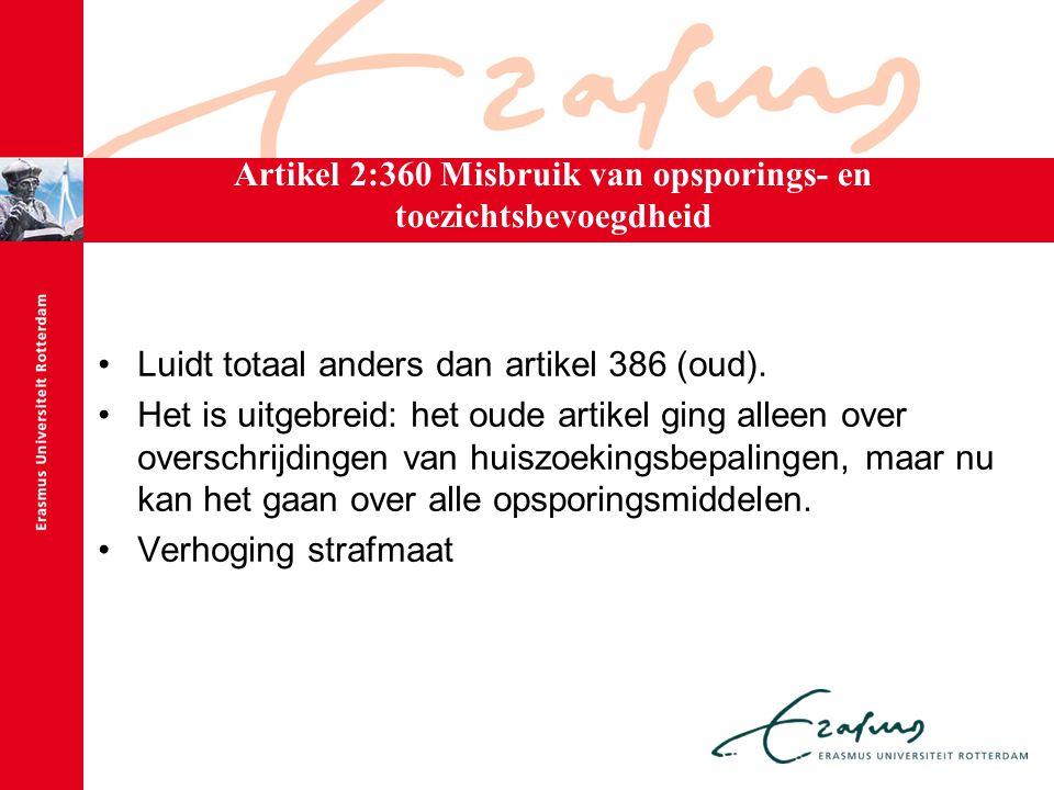 Artikel 2:360 Misbruik van opsporings- en toezichtsbevoegdheid