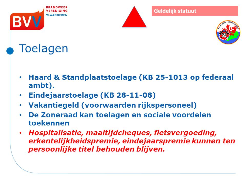 Toelagen Haard & Standplaatstoelage (KB 25-1013 op federaal ambt).