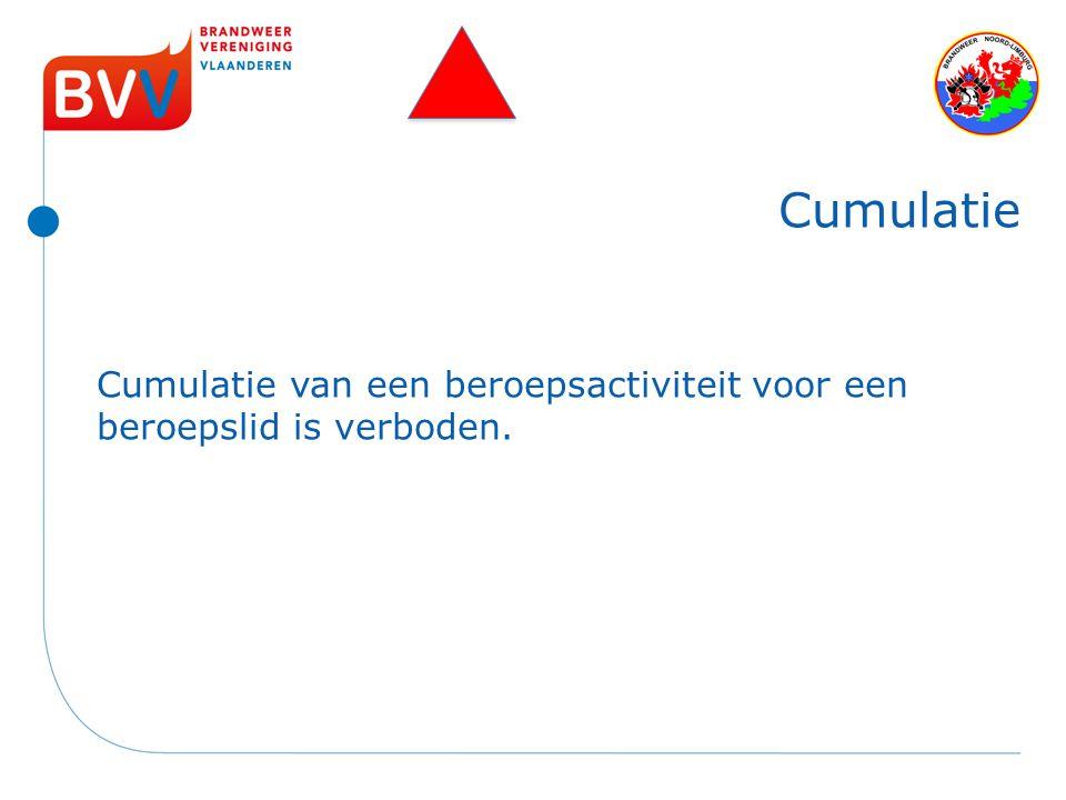 Cumulatie Cumulatie van een beroepsactiviteit voor een beroepslid is verboden.