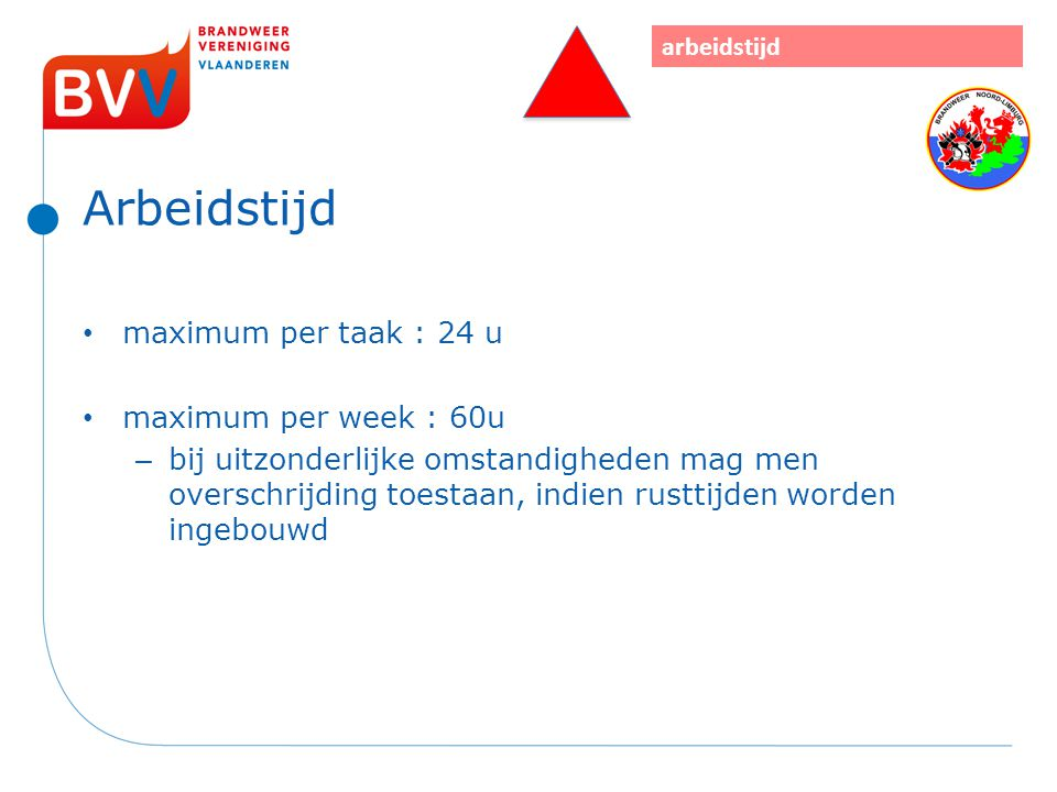 Arbeidstijd maximum per taak : 24 u maximum per week : 60u