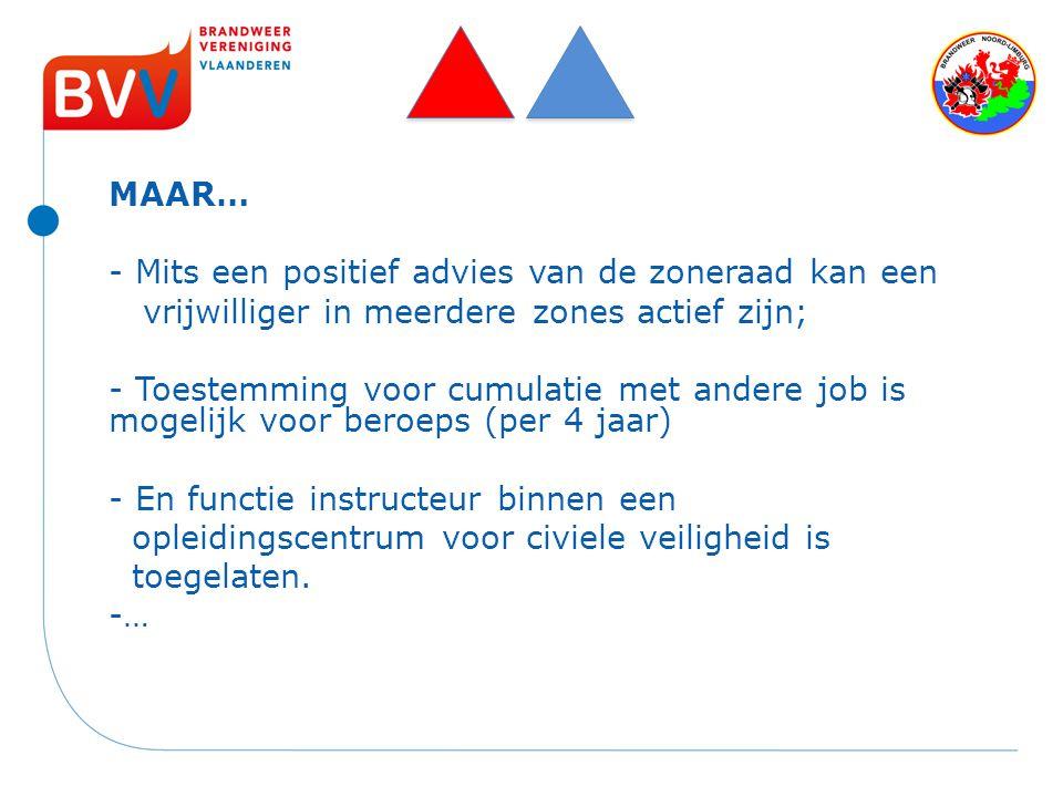 MAAR… - Mits een positief advies van de zoneraad kan een. vrijwilliger in meerdere zones actief zijn;