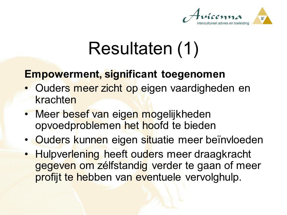 Resultaten (1) Empowerment, significant toegenomen