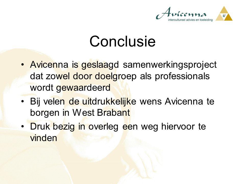 Conclusie Avicenna is geslaagd samenwerkingsproject dat zowel door doelgroep als professionals wordt gewaardeerd.