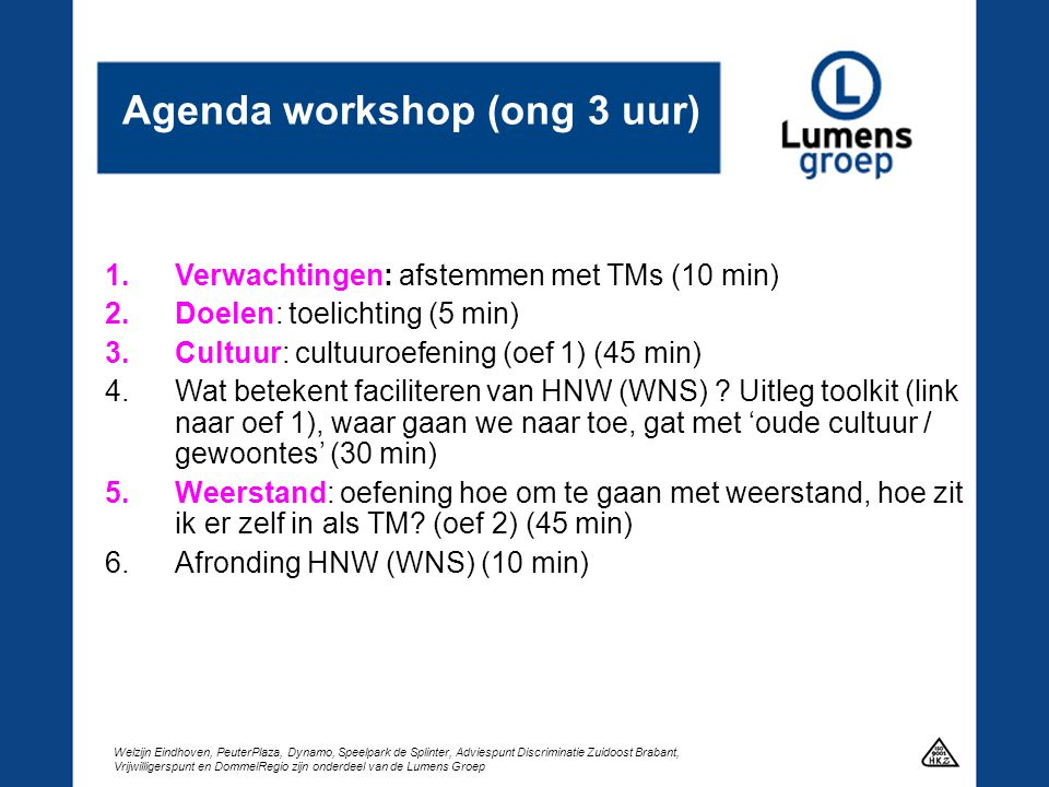 Agenda workshop (ong 3 uur)