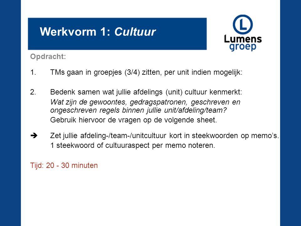 Werkvorm 1: Cultuur Opdracht: