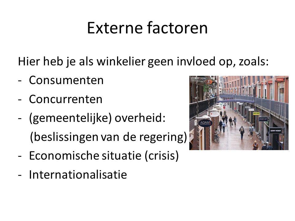 Externe factoren Hier heb je als winkelier geen invloed op, zoals:
