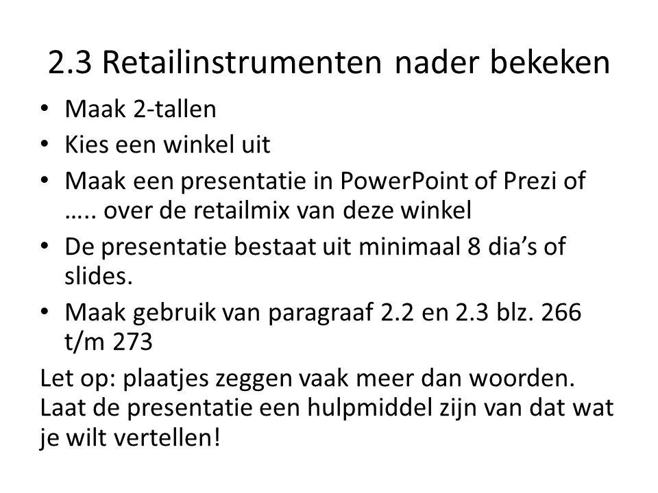 2.3 Retailinstrumenten nader bekeken