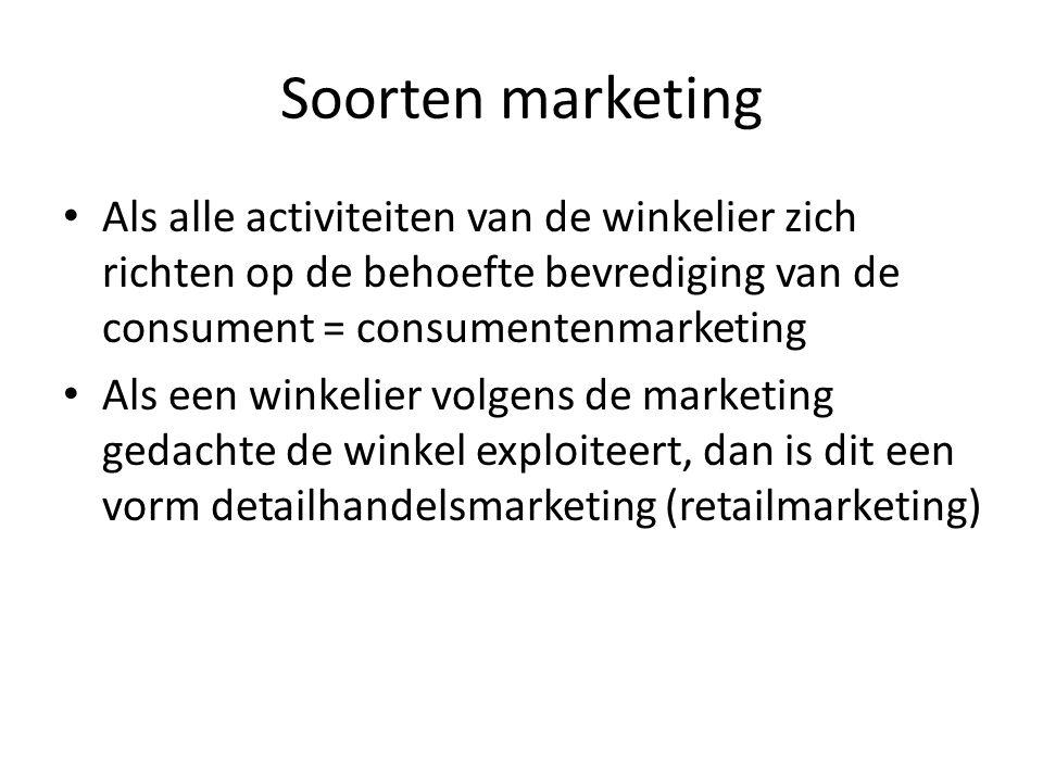 Soorten marketing Als alle activiteiten van de winkelier zich richten op de behoefte bevrediging van de consument = consumentenmarketing.