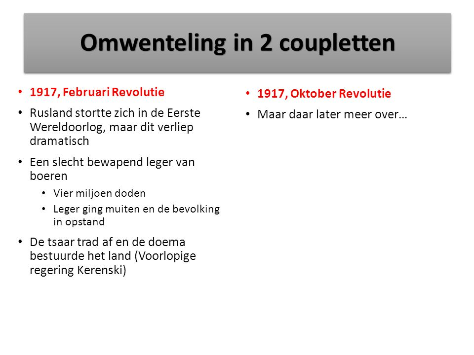 Omwenteling in 2 coupletten