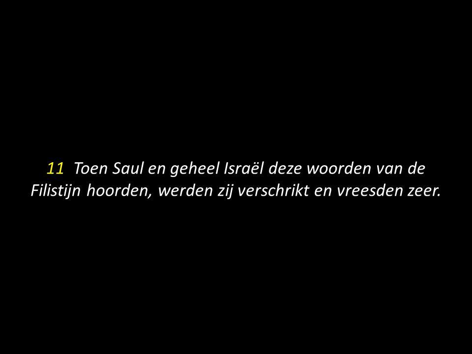 11 Toen Saul en geheel Israël deze woorden van de Filistijn hoorden, werden zij verschrikt en vreesden zeer.