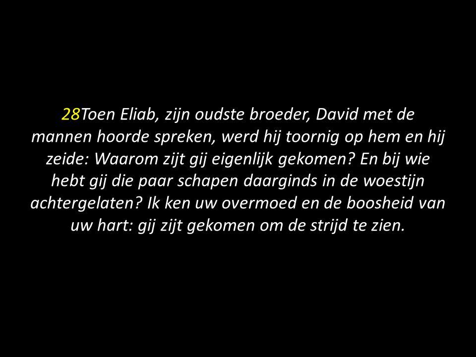 28Toen Eliab, zijn oudste broeder, David met de mannen hoorde spreken, werd hij toornig op hem en hij zeide: Waarom zijt gij eigenlijk gekomen.