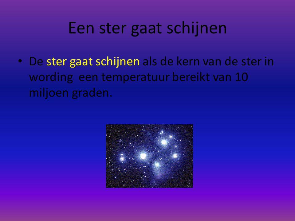 Een ster gaat schijnen De ster gaat schijnen als de kern van de ster in wording een temperatuur bereikt van 10 miljoen graden.