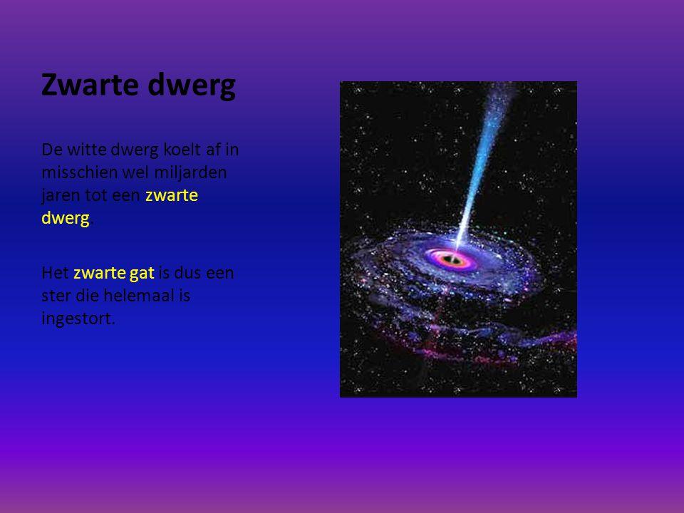 Zwarte dwerg De witte dwerg koelt af in misschien wel miljarden jaren tot een zwarte dwerg.