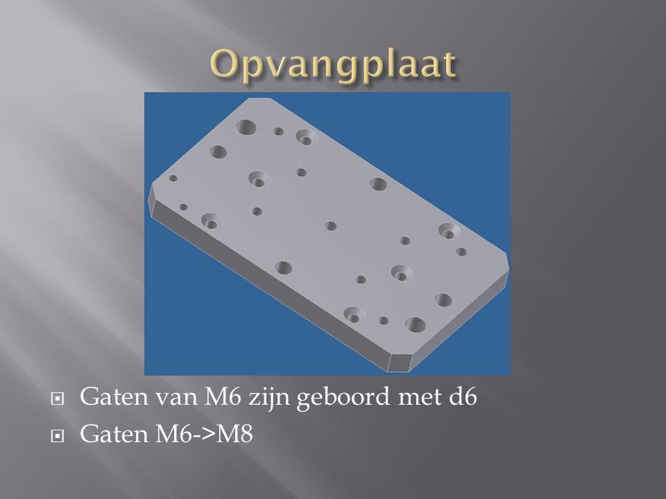 Opvangplaat Gaten van M6 zijn geboord met d6 Gaten M6->M8