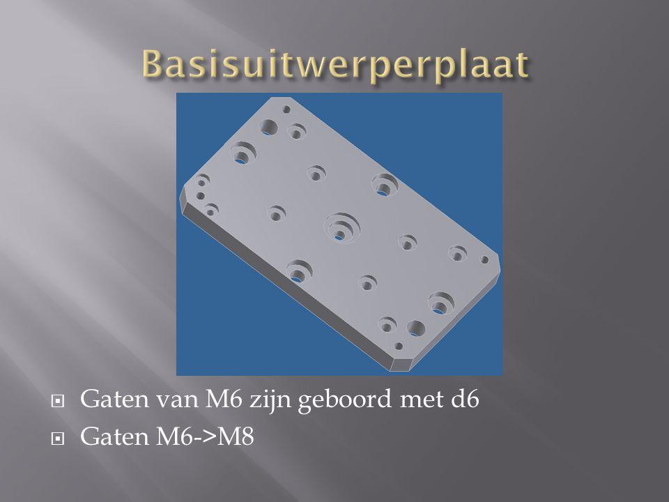 Basisuitwerperplaat Gaten van M6 zijn geboord met d6 Gaten M6->M8