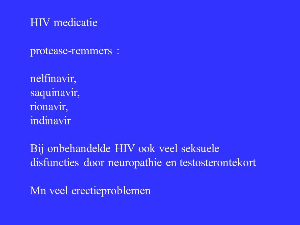 HIV medicatie protease-remmers : nelfinavir, saquinavir, rionavir, indinavir.