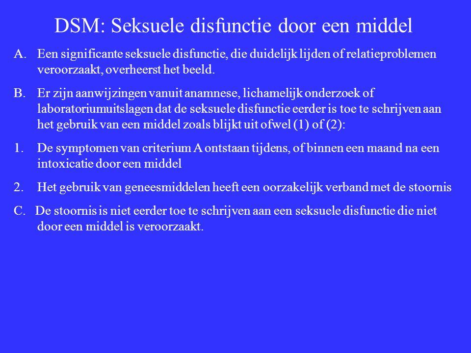 DSM: Seksuele disfunctie door een middel