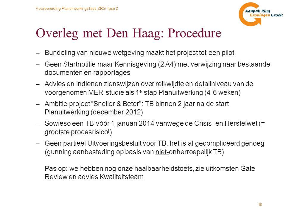 Overleg met Den Haag: Procedure