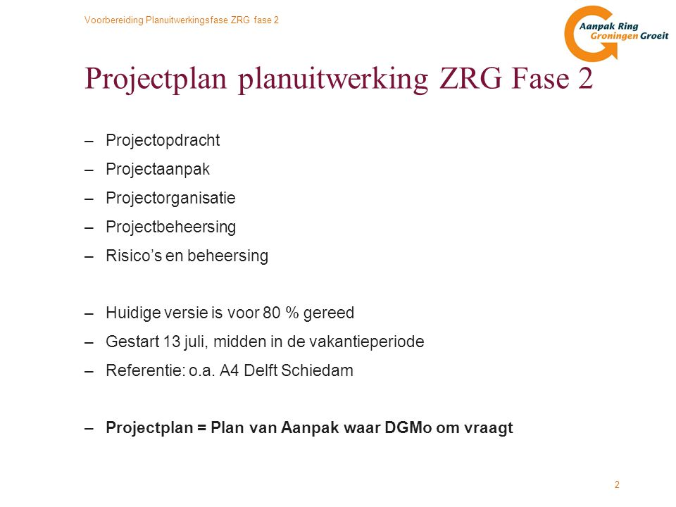 Projectplan planuitwerking ZRG Fase 2