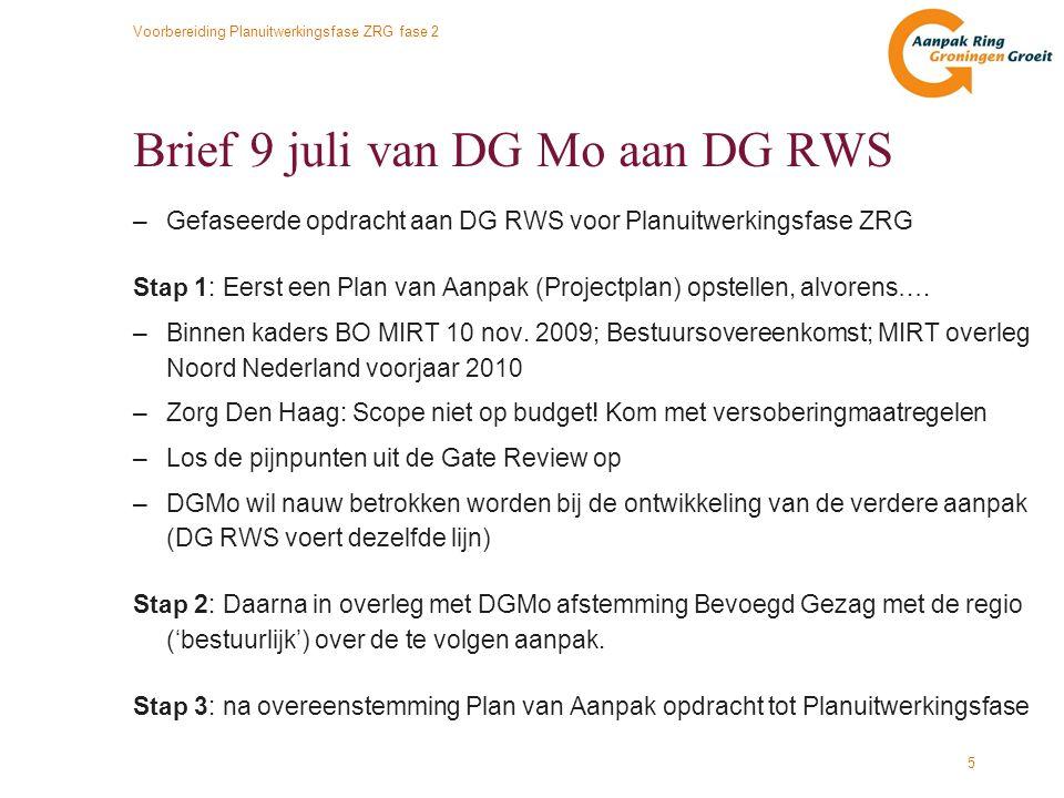 Brief 9 juli van DG Mo aan DG RWS