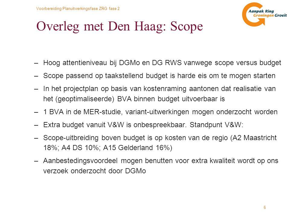 Overleg met Den Haag: Scope