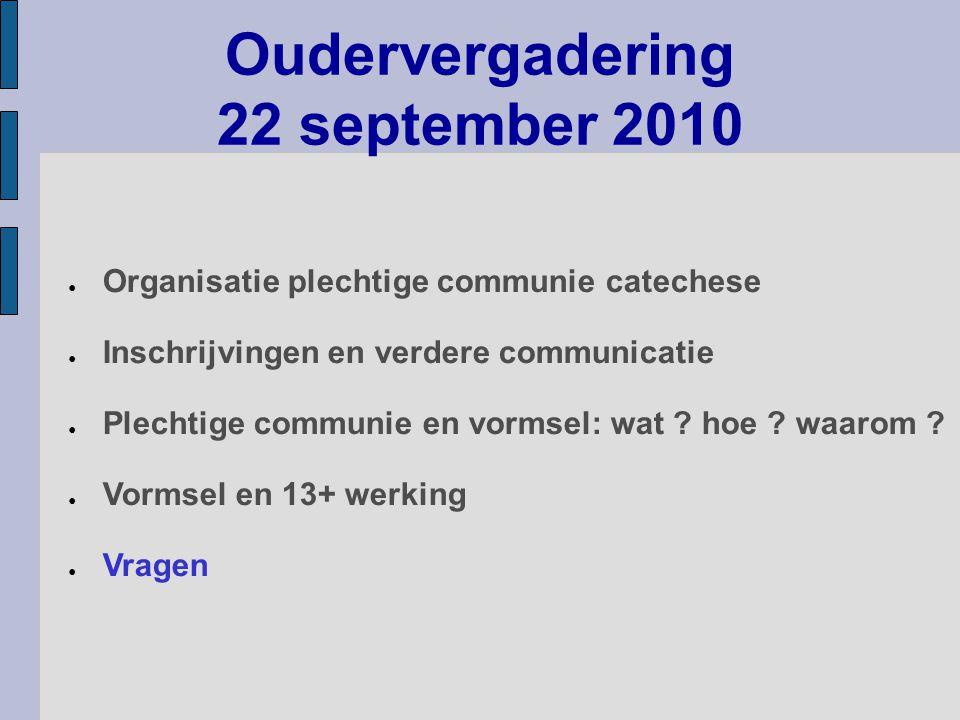 Oudervergadering 22 september 2010