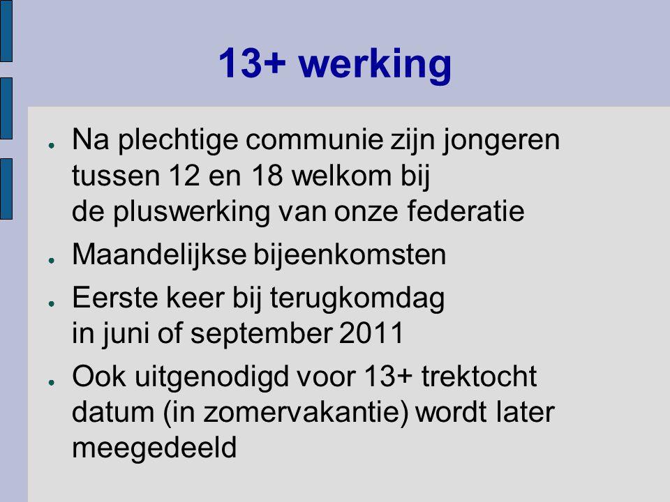 13+ werking Na plechtige communie zijn jongeren tussen 12 en 18 welkom bij de pluswerking van onze federatie.