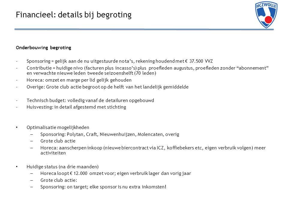 Financieel: details bij begroting
