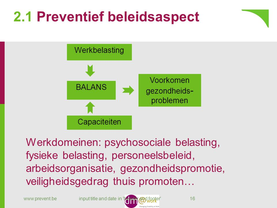 2.1 Preventief beleidsaspect