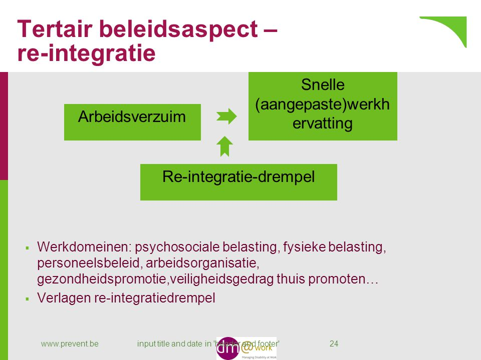 Tertair beleidsaspect – re-integratie