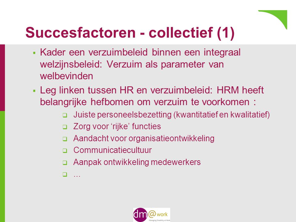 Succesfactoren - collectief (1)