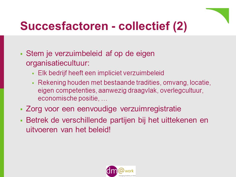 Succesfactoren - collectief (2)