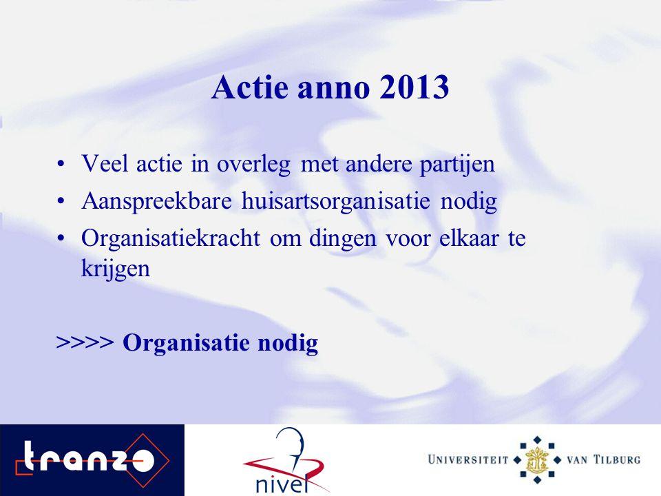 Actie anno 2013 Veel actie in overleg met andere partijen