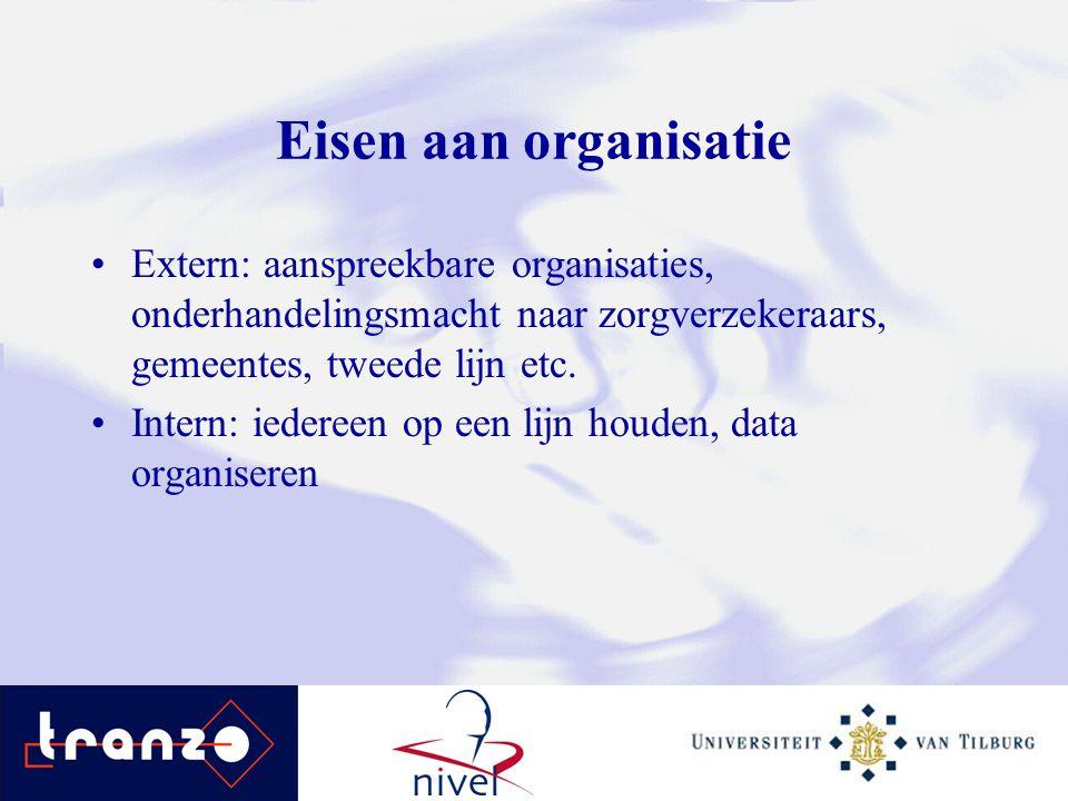 Eisen aan organisatie Extern: aanspreekbare organisaties, onderhandelingsmacht naar zorgverzekeraars, gemeentes, tweede lijn etc.