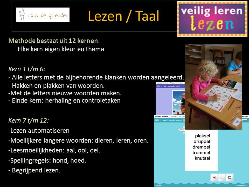 Lezen / Taal Methode bestaat uit 12 kernen: Elke kern eigen kleur en thema. Kern 1 t/m 6: