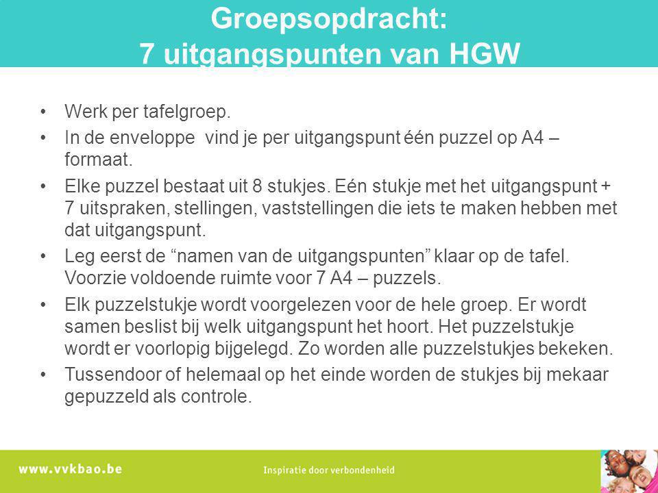 Groepsopdracht: 7 uitgangspunten van HGW