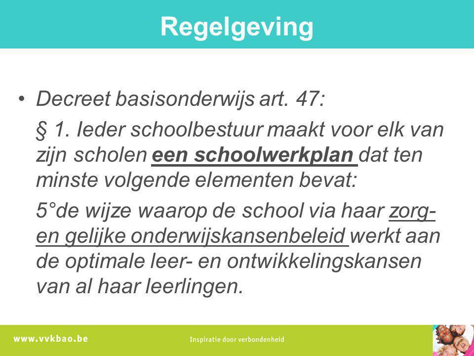 Regelgeving Decreet basisonderwijs art. 47: