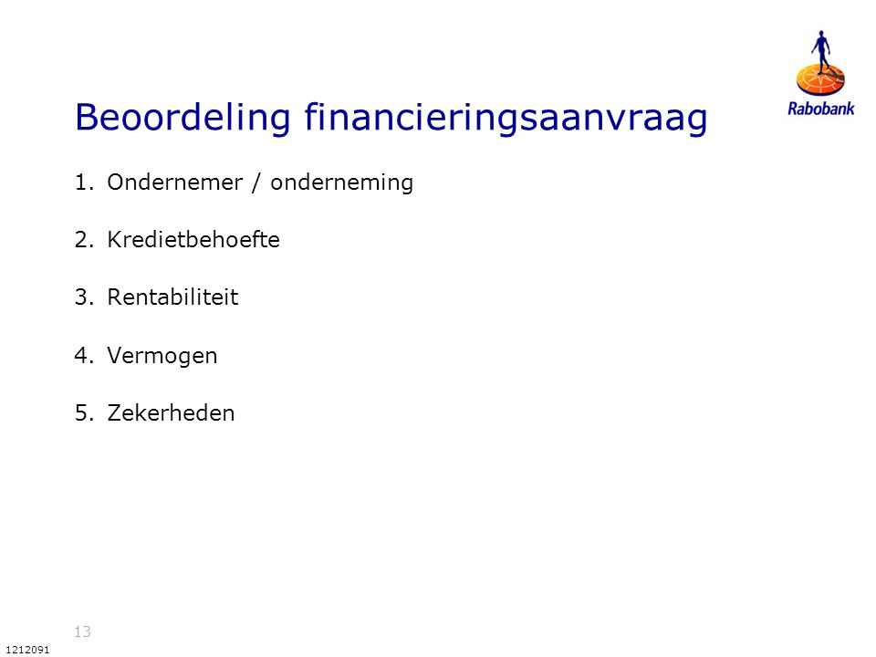 Beoordeling financieringsaanvraag