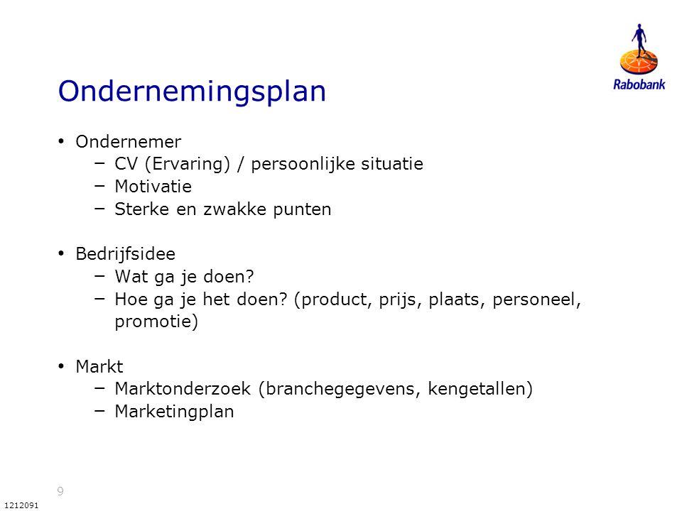 Ondernemingsplan Ondernemer CV (Ervaring) / persoonlijke situatie