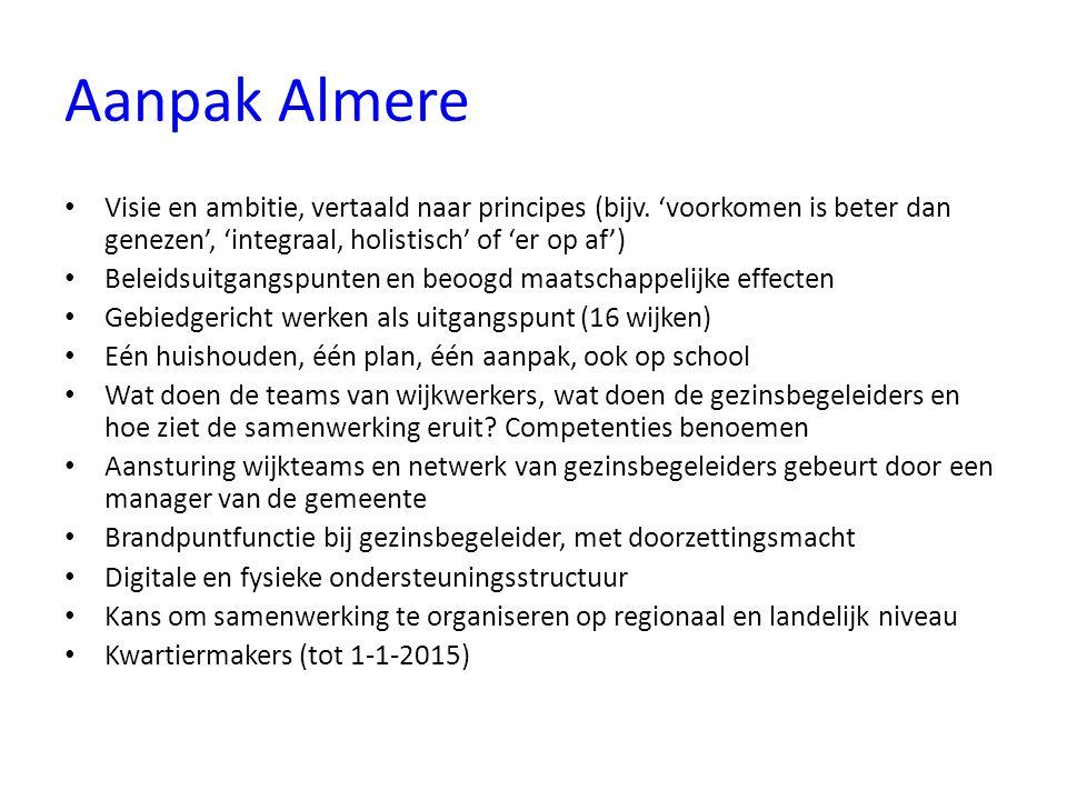 Aanpak Almere Visie en ambitie, vertaald naar principes (bijv. 'voorkomen is beter dan genezen', 'integraal, holistisch' of 'er op af')