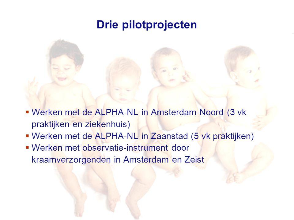 Drie pilotprojecten Werken met de ALPHA-NL in Amsterdam-Noord (3 vk praktijken en ziekenhuis) Werken met de ALPHA-NL in Zaanstad (5 vk praktijken)
