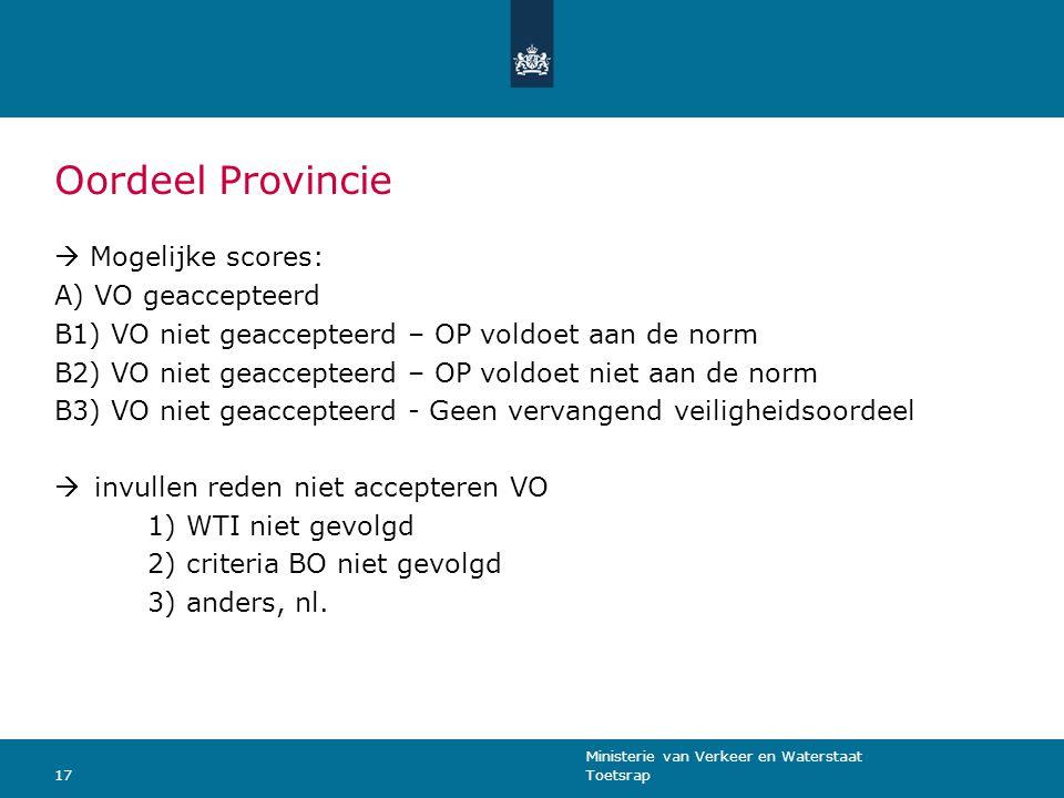 Oordeel Provincie  Mogelijke scores: VO geaccepteerd