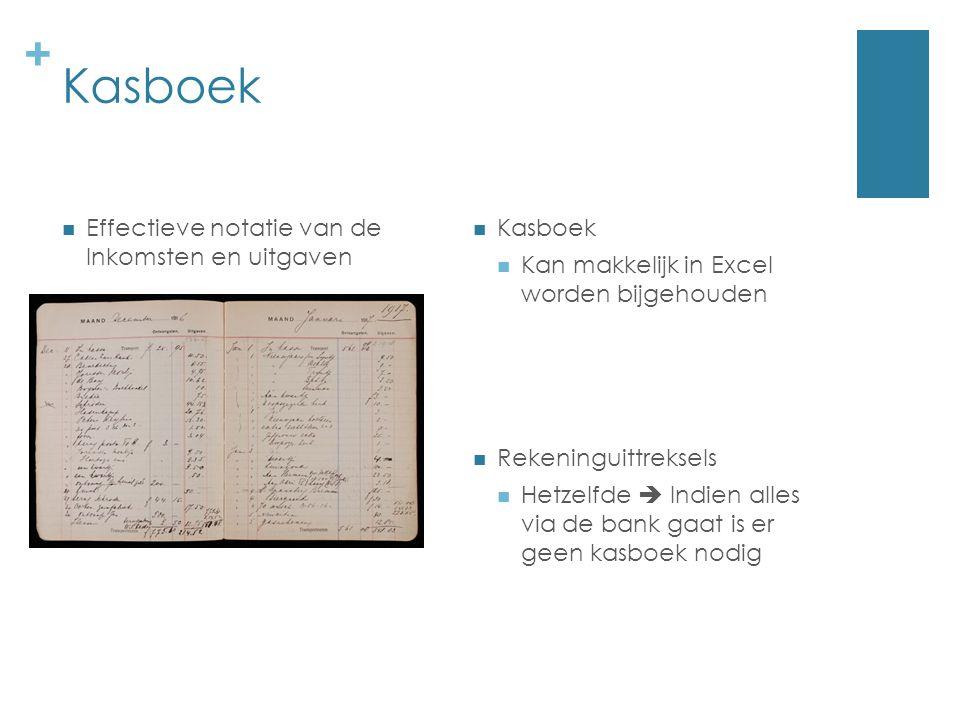Kasboek Effectieve notatie van de Inkomsten en uitgaven Kasboek